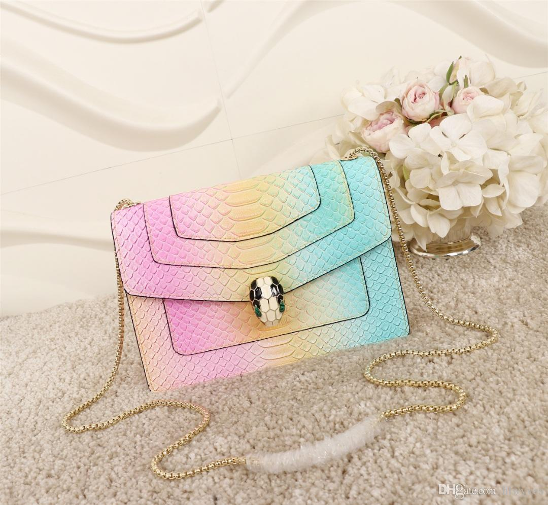 97621bda361c Designer Bags Famous BVG Brand Luxury Chain Shoulder Cross Body Women  Designer Handbags Snake Head Laser Fade Out Color Purse Bag Laptop Messenger  Bags ...