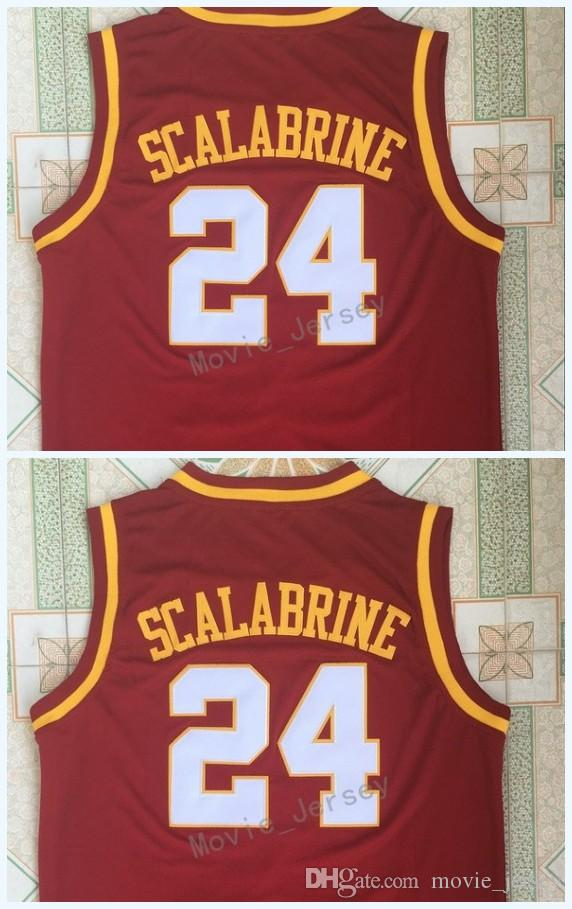 reputable site 9c1a3 f6ef3 24 Brian Scalabrine Men Jersey University of Southern California USC Jersey  College Mens Basketball Jerseys Red Sports Jersey