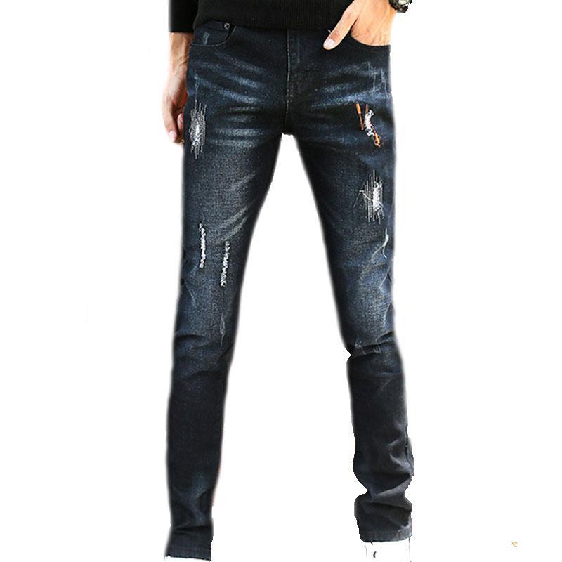 962ae357c3053 Compre Pantalones De Mezclilla De Moda Para Hombres Pantalones De Mezclilla Para  Hombres Pantalones De Mezclilla Azul Rayados Clásicos A  41.62 Del Weikelai  ...