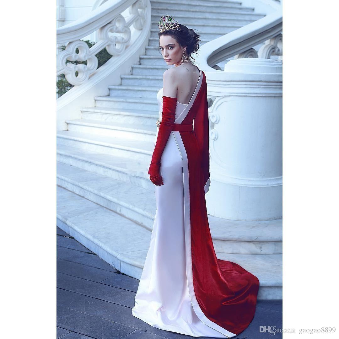 Unique 2k18 Prom Dresses Party Wear One Shoulder Long Sleeve Evening Gowns Vestidos De Fiesta Satin Formal Dress Without Glove