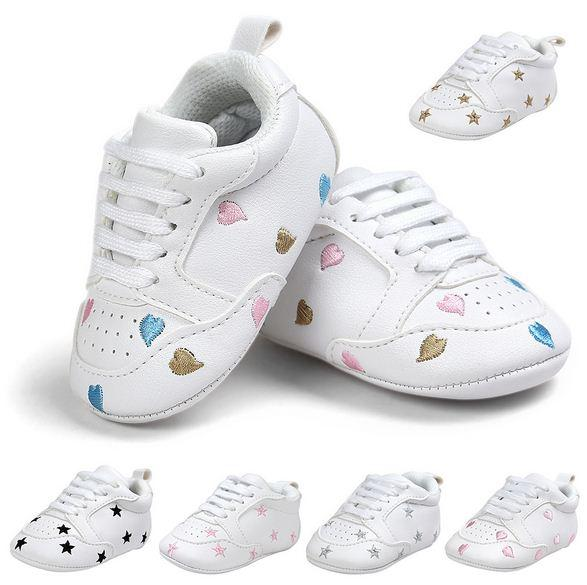 83897b820c16 2019 Baby Mocassins PU Leather Baby Shoes Newborn Boys Girls Heart Star  First Walkers Toddlers Lace Up Soft Bottom Sneakers 0 18M From Universecp