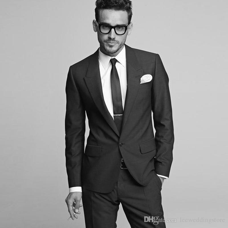 e6cdfcbab23 2018 Black Men Suits Peaked Lapel Business Suit Blazer Custom Made Wedding  Suits Slim Fit Formal Tailored Tuxedos Best Man Prom Jacket+Pants