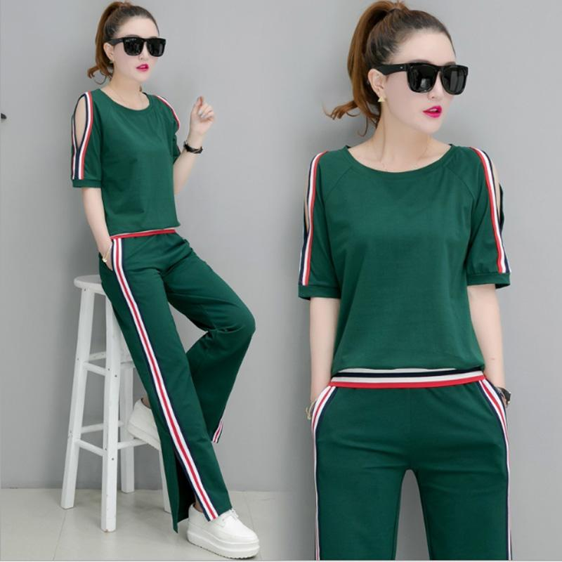 8707bbccd83 2019 Summer Sweat Pants For Women 2018 Korean Fashion Casual Tracksuit Set  Woman Short Sleeve Tops And Striped Pants Sets Two Piece From Sadlyric, ...