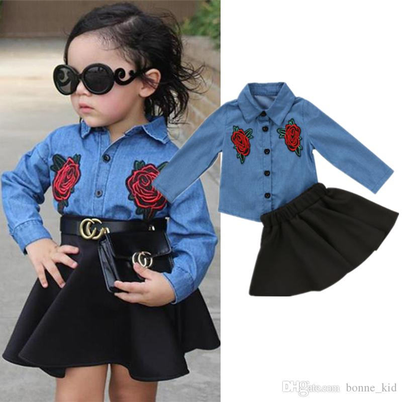 440dc50fd 2019 Kids Baby Girls Dresses Outfit Floral Denim Shirt Tops +Tutu ...