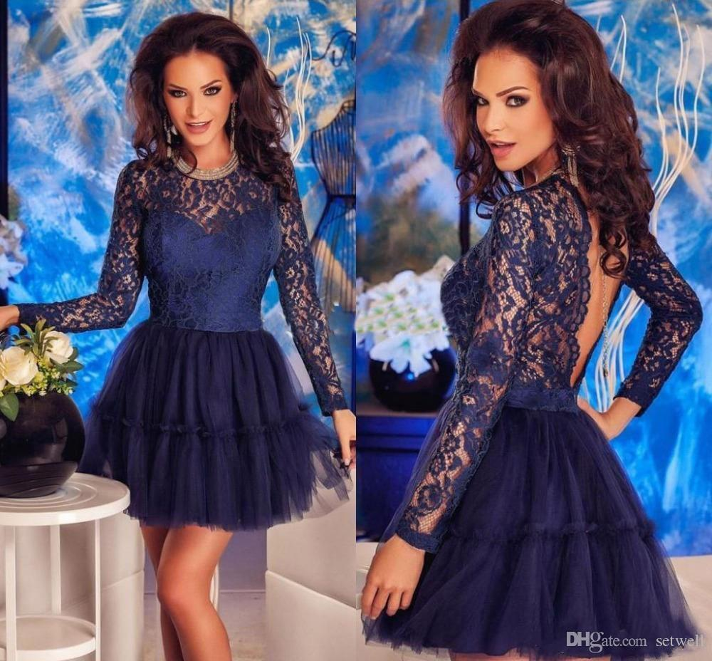 60d417c21c504 2018 Navy Blue Tulle Lace Mini Short Prom Dresses Modest Jewel Illusion  Long Sleeves Backless Homecoming Dress Formal Party Gowns Tea Length Prom  Dresses ...