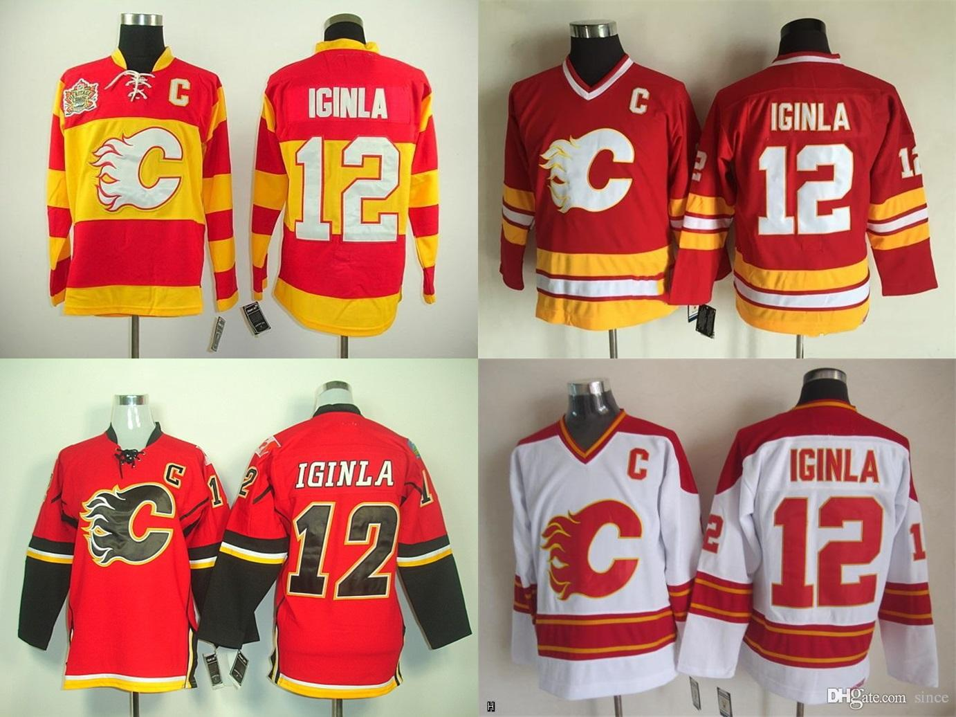 a1827ac75 2019 2016 New Cheap Calgary Flames 12 Jarome Iginla Jersey Team Color Home  Red Yellow Stitched With C Patch China Ice Hockey Jerseys From Since, ...