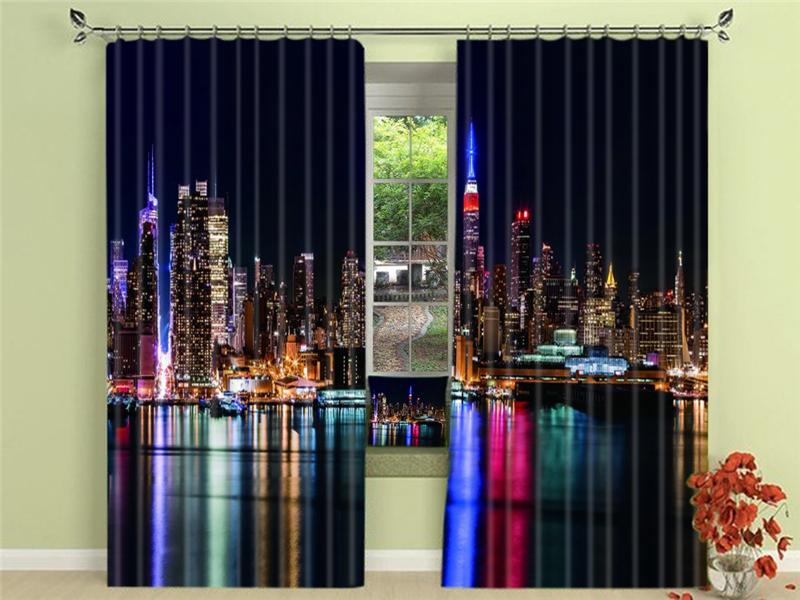 2019 Beautiful Night City 3D Blackout Curtains Healthy Non Pollution Digital Print Customiz Design Tablecloth Shower Curtain From Suozhi1994