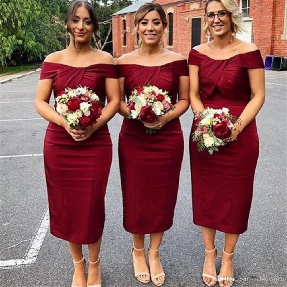9aac9b15c58 Modern Burgundy Tea Length Bridesmaid Dresses 2019 Sheath Trumpet Off  Shoulder Pleats Women Wedding Guest Party Gowns Cheap Bridesmaid Dresses  Sale ...