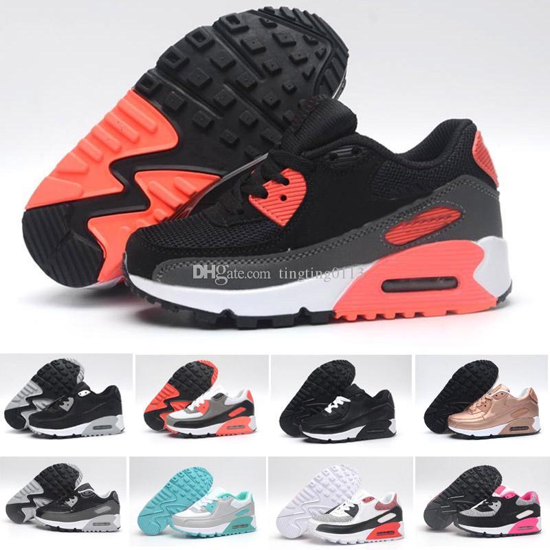 sale retailer d22e1 2a6ba Acheter Nike Air Max 90 Designer Nouvelle Marque Enfants Chaussures Bébé  Enfant Classique 90 Enfants 90 S Sport Sneaker Chaussures De Marche En  Plein Air ...
