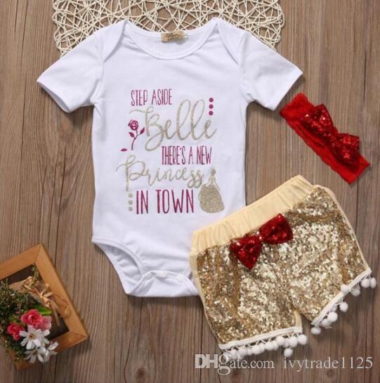 baby clothing girl Kids sets 100%Cotton short sleeve romper + paillette short +headband causal summer girl romper set girl clothes