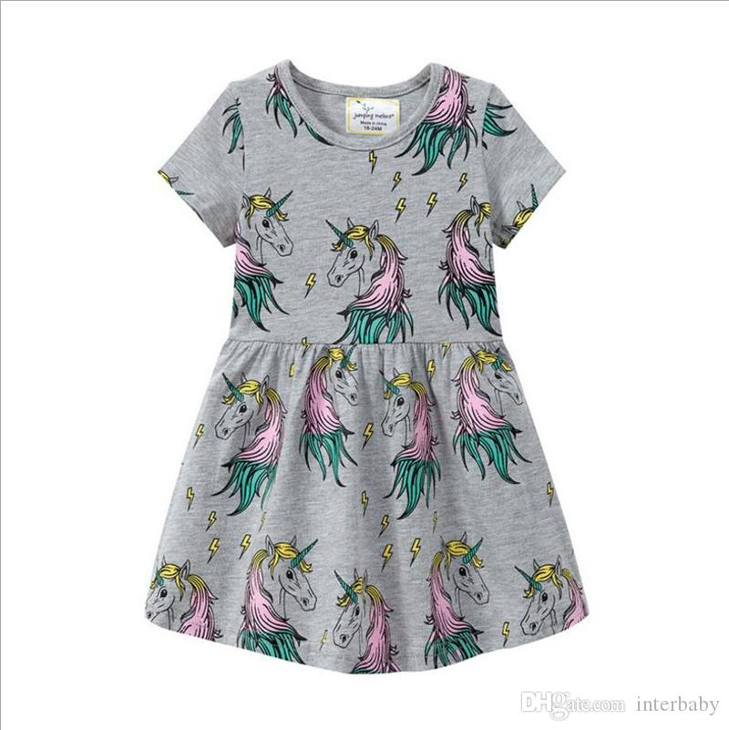 7de5ce960ea 2019 Unicorn Girls Dresses Short Sleeved Baby Dresses GirlsAnimal Printed  Princess Dress Toddler Gray Dress Kids Designer Clothes YL437 From Interbaby