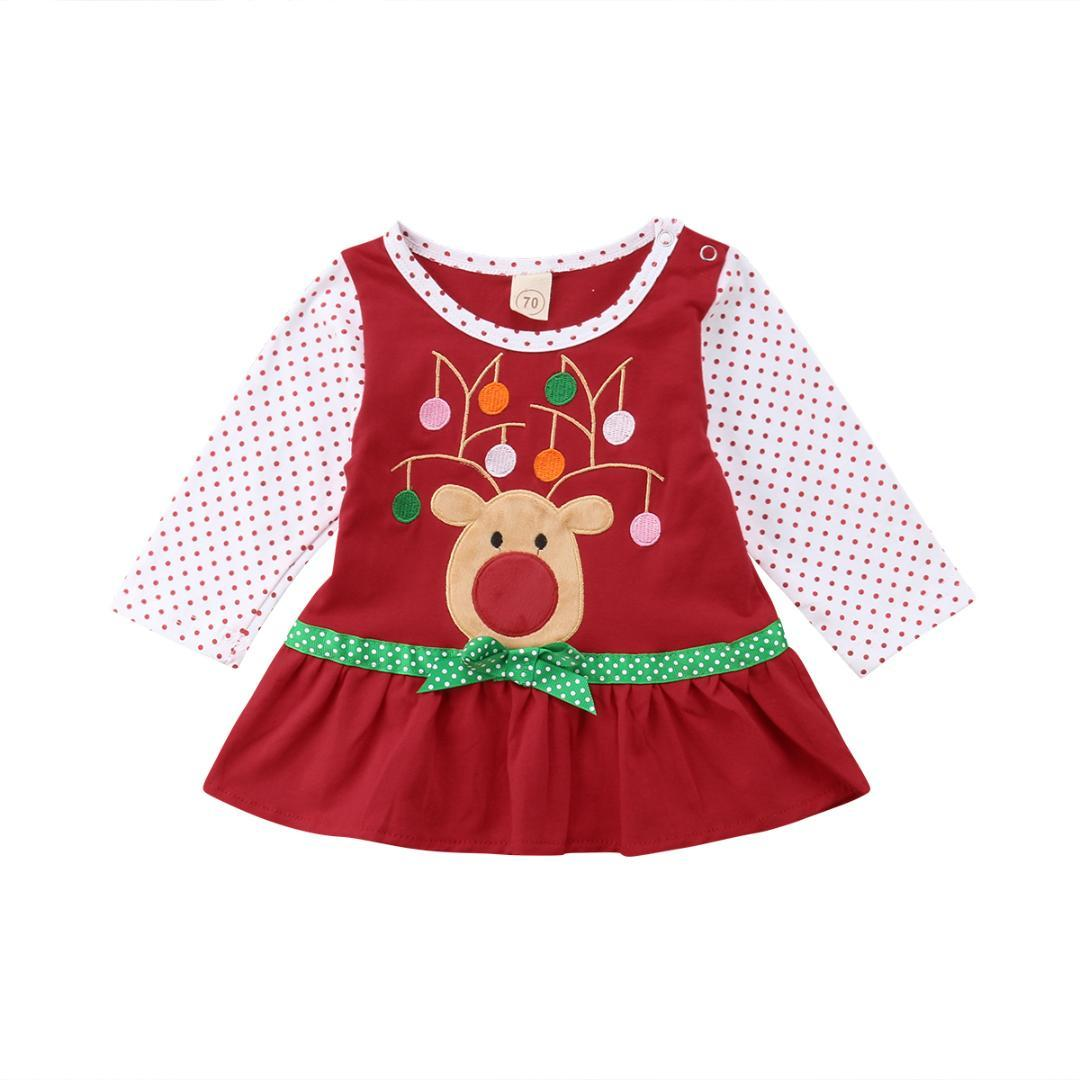 382383b008f0d Pudcoco 2018 New Christmas Long Sleeve Baby Girls Dress Cartoon Deer Party  Dress For Girls Xmas Costumes