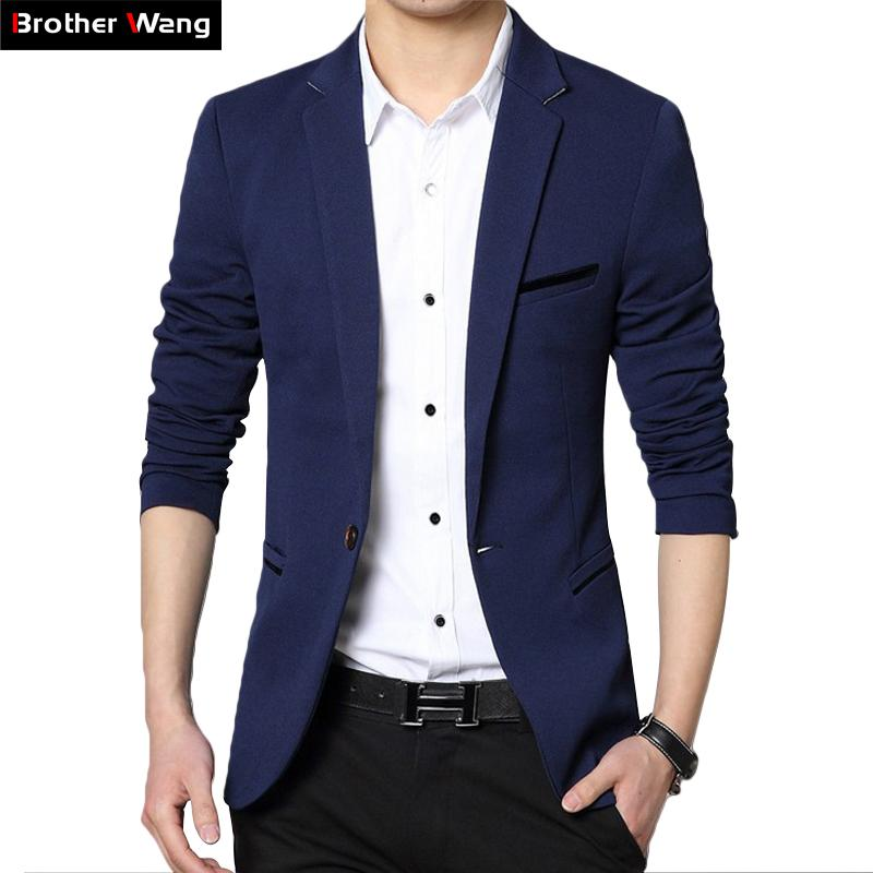 706d6bdb3a2 2018 Autumn New Men s Blazer Coat Business Casual Fashion Blue Slim Fit Suit  Male Brand Clothing