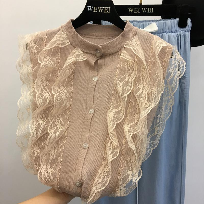 15b38f25e4b7cb 2018 New Women's Summer Lace Blouse Shirts for Woman Short Sleeve Ruffles  Knitted Tops Elegant Black Top Spring Female Clothes
