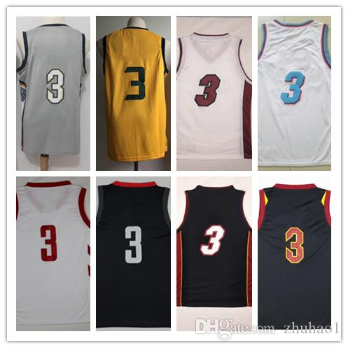 cheap for discount a2390 a088f Men's 3 Dwyane Wade Isaiah Thomas Jersey Black red and blue # 3 C.J.  McCollumand and Ricky Rubio Basketball Jerseys