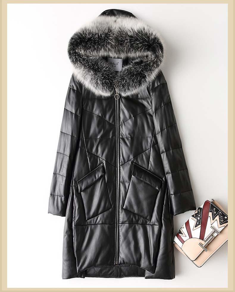 eea32a90ef nuova donna anatra giù cappotto genuino pelle di pecora cappella di  pelliccia di volpe cappello donna signora inverno caldo parka nero più  grande ...