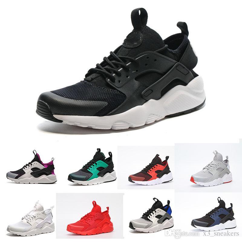best service 5bc89 354d0 Acheter Hot 2018 Date Nike Air Huarache 4 Iv Chaussures De Course Pour  Hommes Femmes, Noir Blanc Gris Sneakers Triple Huarache4 Chaussures De  Sport Eur 36 ...