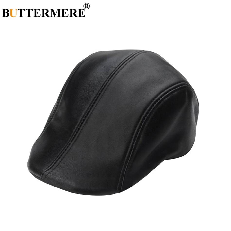 5cdea0366b4 2019 BUTTERMERE Black Berets Men Real Leather Casual Duckbill Flat Hats Male  Italian Luxury Autumn Winter Classic Directors Caps 2018 From Weichengz