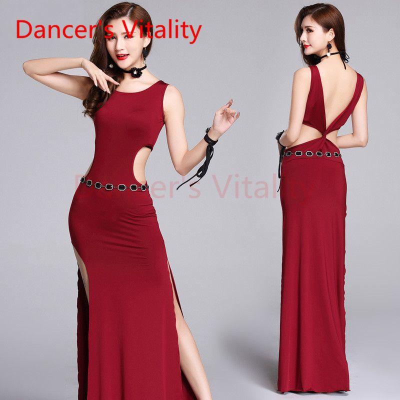 a58ef5db1 Dancer s Vitality 2017 Traje de danza del vientre Atrás V Apertura sobre  falda doble abierta Trajes de danza oriental para la vestimenta del vientre
