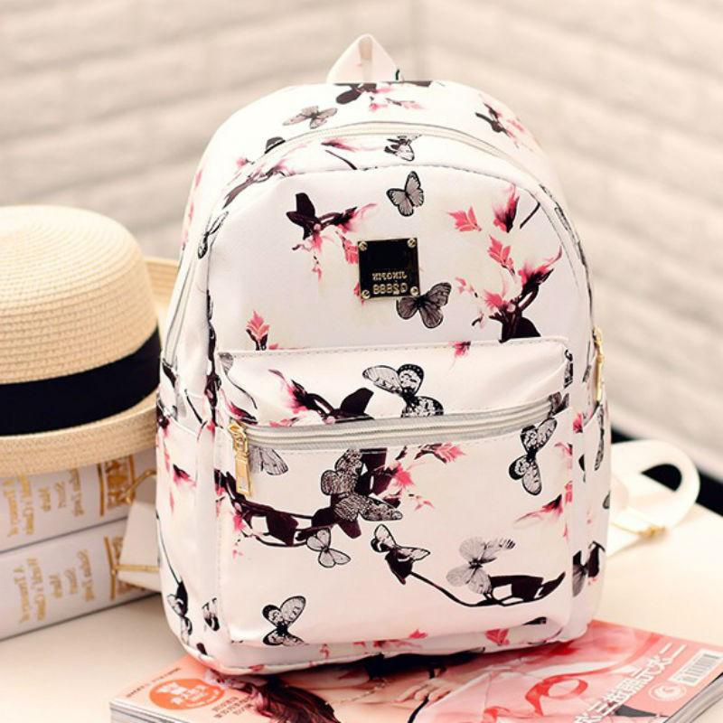 8b513b690d89 2018 New Butterfly Flower Small Woman Backpack Brand Printed PU Leather  Cute Female Backpack Lady Preppy Style Fashion Women Bag Book Bags Herschel  ...