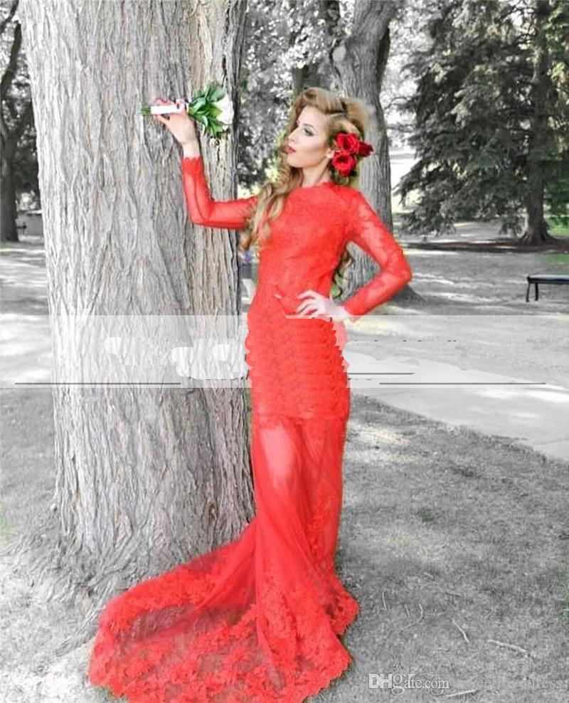 2018 Elegant Red Lace Arabic Evening Dresse Sheer Long Sleeves Mermaid Prom Dresses Sweep Train Plus Size Girls Pageant Party Gown