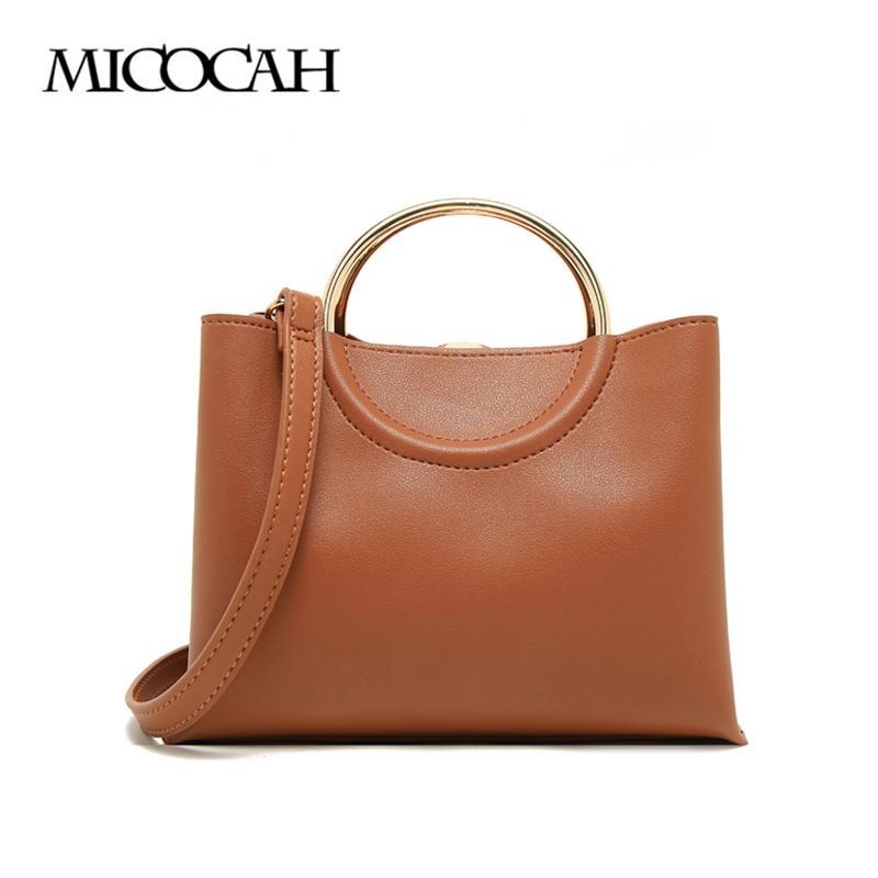b5ce741aa9e19 Großhandel MICOCAH Mode Frauen Handtaschen Metall Ring Umhängetasche Braun    Schwarz Farbe PU Leder GL30045 Von Standbyside