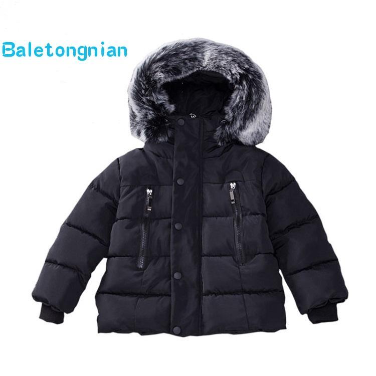 size 40 a7376 d2d57 Kinder Winter Jacken Pelzkragen Herbst Winter Jacke Kinder Mädchen Dicke  Warme Hoodies Kinder Oberbekleidung Mantel für Jungen 18M-8T