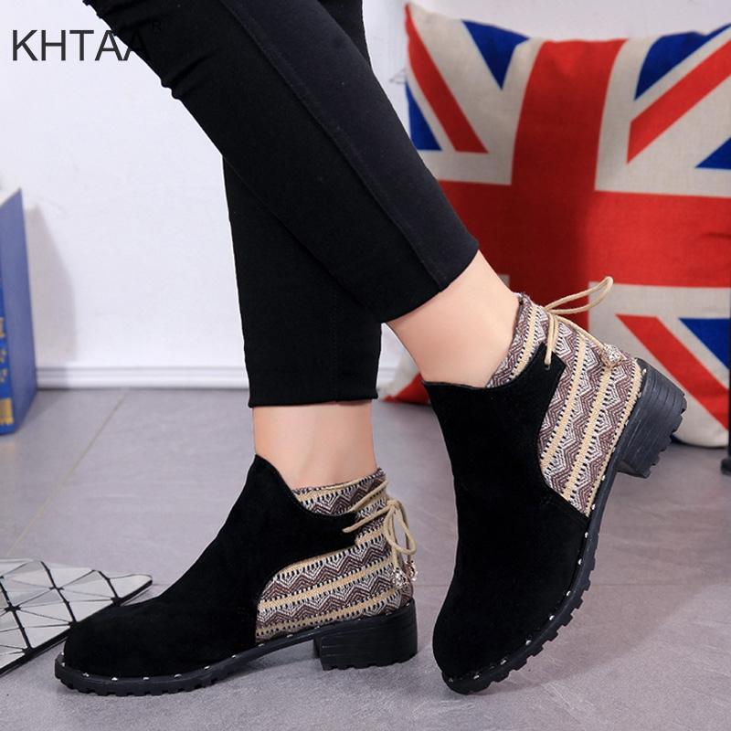 6084c1ba2 Compre Botas De Salto Baixo Mulheres Ankle Boots Outono Coreano Casual 2018  Novas Senhoras Da Moda Inverno Botas Curtas Deslizamento Na Plataforma  Sapatos ...