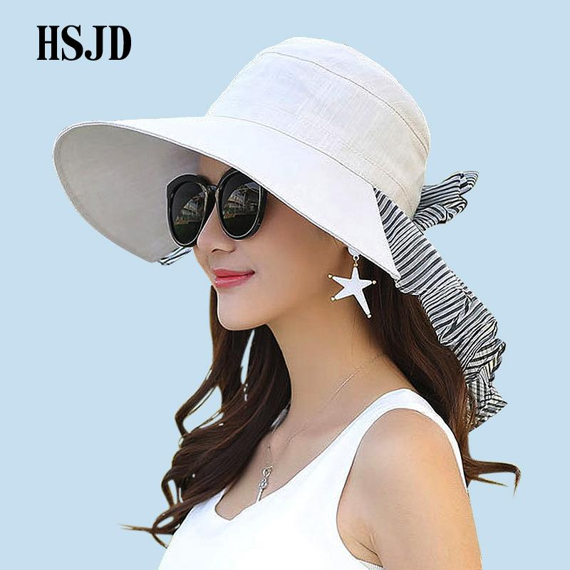 Summer Wide Brim Anti UV Women Cloth Sun Hat 2018 New Chiffon Bowknot  Protect The Neck Beach Hats Female Outdoor Travel Hat Kids Hats Wide Brim  Hat From ... cb96cb695b1