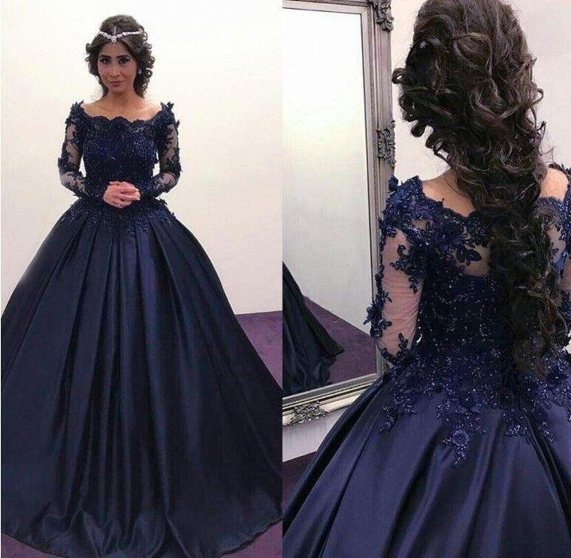 2018 Fall Winter Navy Blue Long Sleeve Prom Dresses Bateau Lace