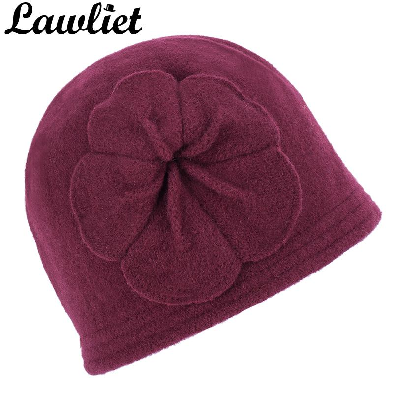 dd595acbdca Lawliet Vintage Style Winter Women Beanies Hat With Flower Design Wool  Bucket Hats Wholesale Warm Hats For Women Winter Cap A289 Knitted Hats Knit  Cap From ...