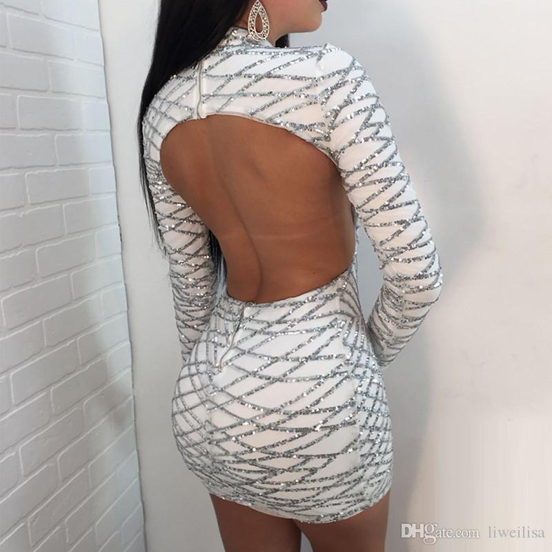 2018 New Backless Sexy Sequins Dress Women Long Sleeve Turtleneck Bodycon Geometric Sequin Club Mini Dress Short Party Dresses