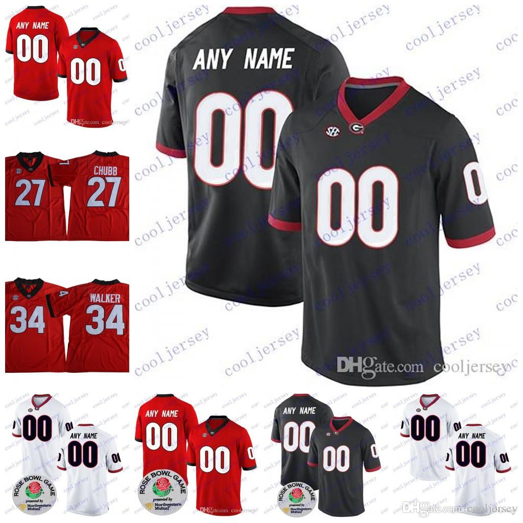 watch e6498 c278a Custom Georgia Bulldogs UGA College Football 5 Terry Godwin II Sony Michel  7 Lorenzo Carter Any Number Name 2018 Rose Bowl Champions Jersey