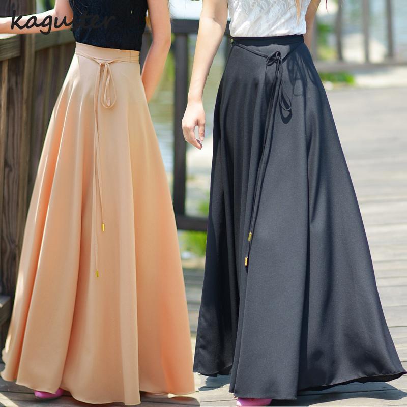 0697299b8 Falda larga de gasa gruesa retro de las mujeres Falda larga de maxi falda  larga de alta calidad del verano de la primavera del verano del ...