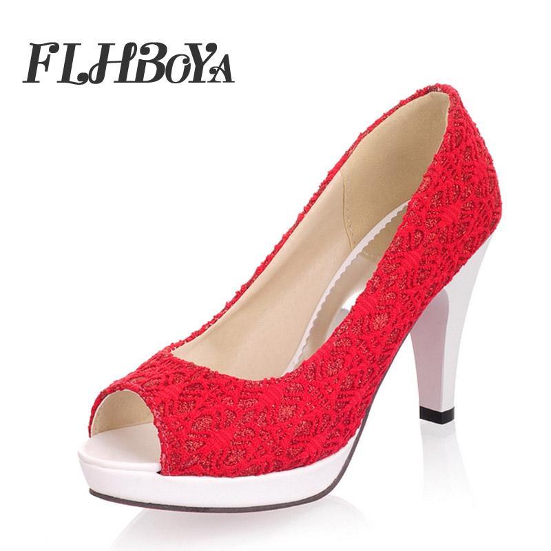 98db305a2194 2018 Nuevo Verano Peep Toe Tacones Altos Sandalias de Plataforma Zapatos  para Mujer Mujer Elegante Rojo Negro Spike Tacón de la cubierta Señoras de  ...