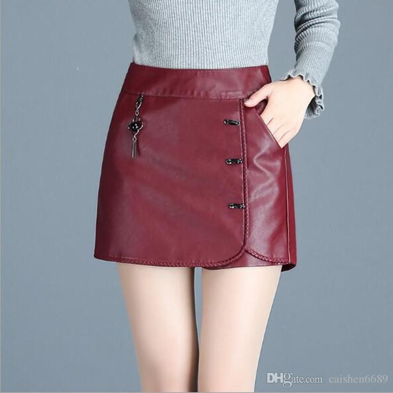 Acheter Automne   Hiver PU Pantalon En Cuir Taille Haute Bottes Pantalon  Shorts Bouton Décoration Femme Jupe Mode Casual En Cuir Jupe Pantalon Jupes  Courtes ... b8a8cdd7743