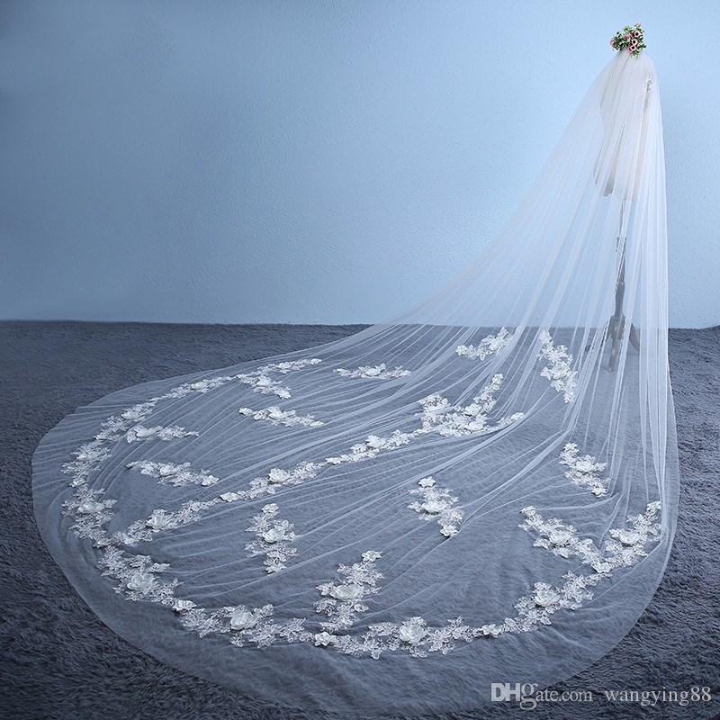 Gerçek Fotoğraf Yeni Varış 3 M Fildişi Beyaz Dantel Katedrali Düğün Veils Uzun Gelin Veils Tarak Düğün Aksesuarları Ile Vual Mariage