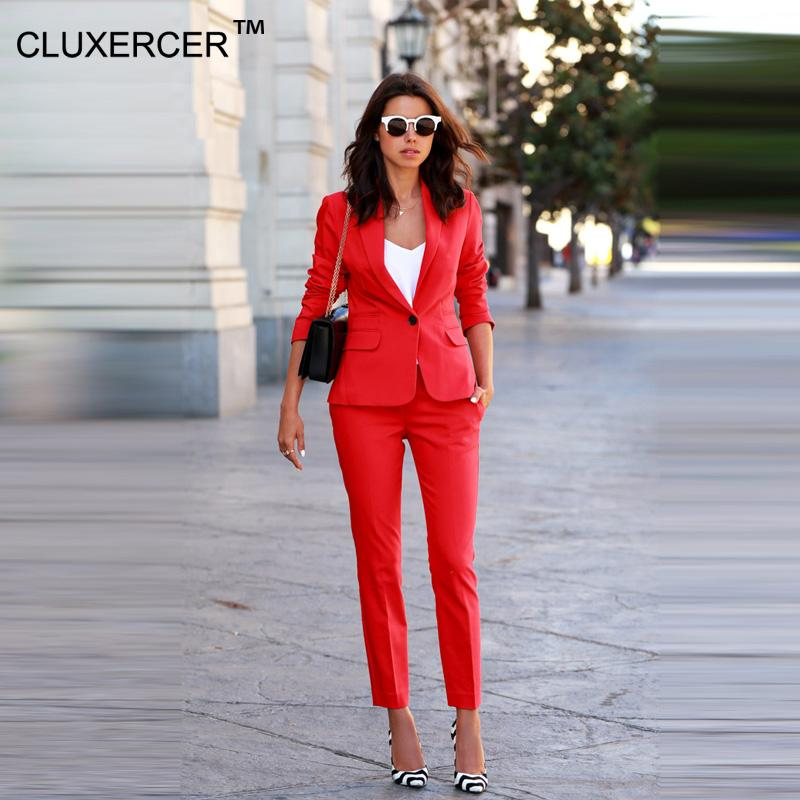 22548cecdd4d 2019 CLUXERCER Brand Women Sets Womens Business Suits Orange Pants Suit  Formal OL Business Suit Long Sleeve Trouser Suit From Art04, $113.06 |  DHgate.Com