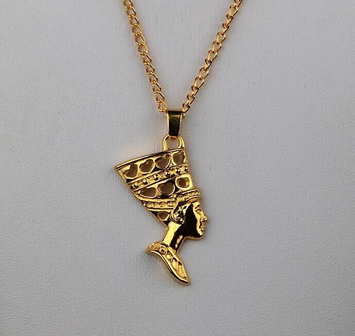 1 Satz / Los Heiße Art und Weise ägyptische Ägypten Königin Nofretete 24K Gold Antike Legierungs-hängende Halsketten-Ohrring-Schmucksache-gesetzte Frauen-Geschenk