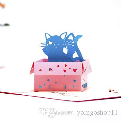 New 3D Creative Children Handmade Cards Festival Birthday Cartoon Kittens Cute Layered Gift Banque Greetings