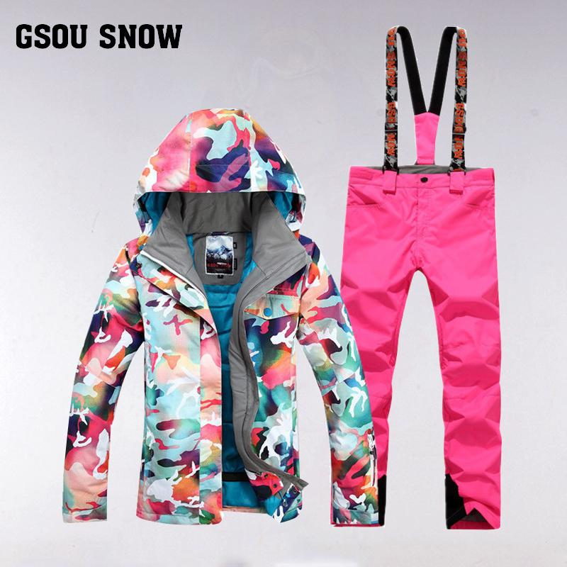 2019 GSOU SNOW Women S Ski Suit Winter Outdoor Windproof Waterproof Thick  Warm Breathable Ski Jacket Pants Size XS L From Masn 8dbdf8749c60