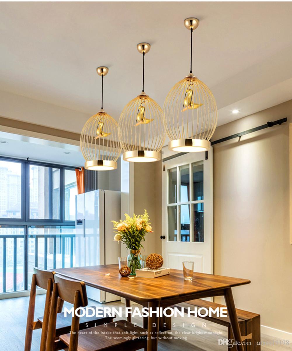 Moderna lampada a sospensione a forma di gabbia uccelli in oro a LED Art