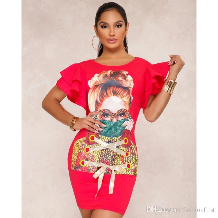 Рябить печати платье элегантный зашнуровать одежда bodycon платье Анкара рябить рукав африканское платье бесплатная доставка