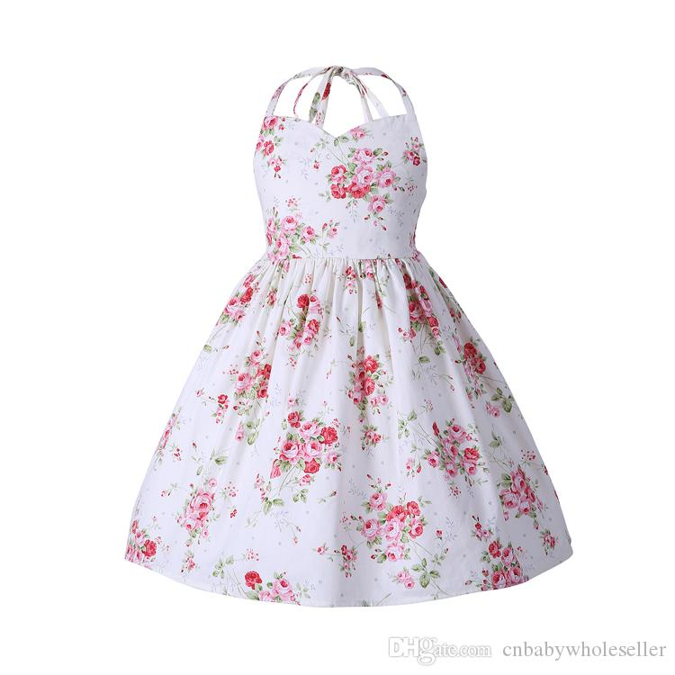 3ced509cb021 2019 Kids Princess Dresses Floral Sleeveless Cotton Baby Girl ...