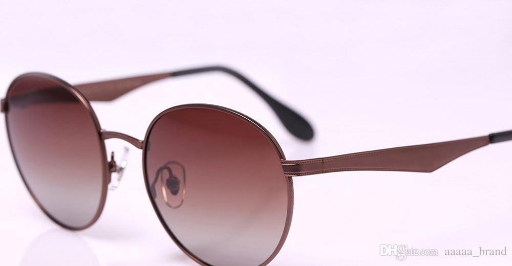 9 renkler Yüksek Kalite Yuvarlak Polarize Güneş Gözlüğü Erkek Kadın Marka Tasarımcı Güneş Gözlükleri Metal çerçeve polaroid Lens Perakende kutusu ve etiket ile