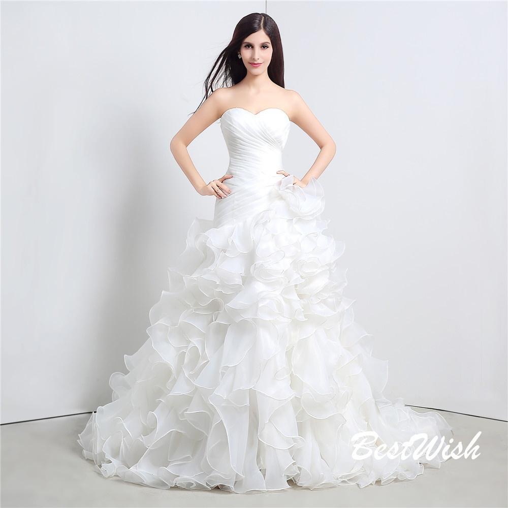 ... Bianco   Avorio Senza Spalline Innamorato Pizzo Abito Da Sposa Sirena  Organza Abiti Da Sposa Party Dress Il Matrimonio A  129.65 Dal Hilian  a4ba19b96c0