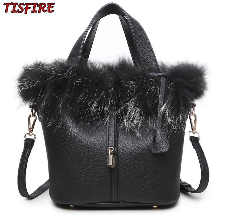 2018 Bucket Bag Real Fur Bag Charm Brand Lock Top Handle Bags Female  Fashion Designer Shoulder Bags Luxury Rabbit Fur Bolsas Leather Handbags  Hand Bags From ... bb54a0cbb29b0