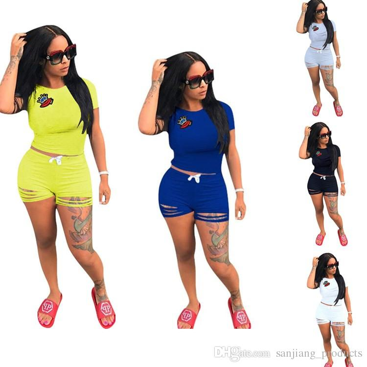 078fd5fa3f8 2019 Women Summer Casual Shorts Tracksuit Crown   Lip Gloss Crop Top  Sweatshirt With Ripped Hole Shorts Pants Outfits Girls GYM Jogger Suits  From ...