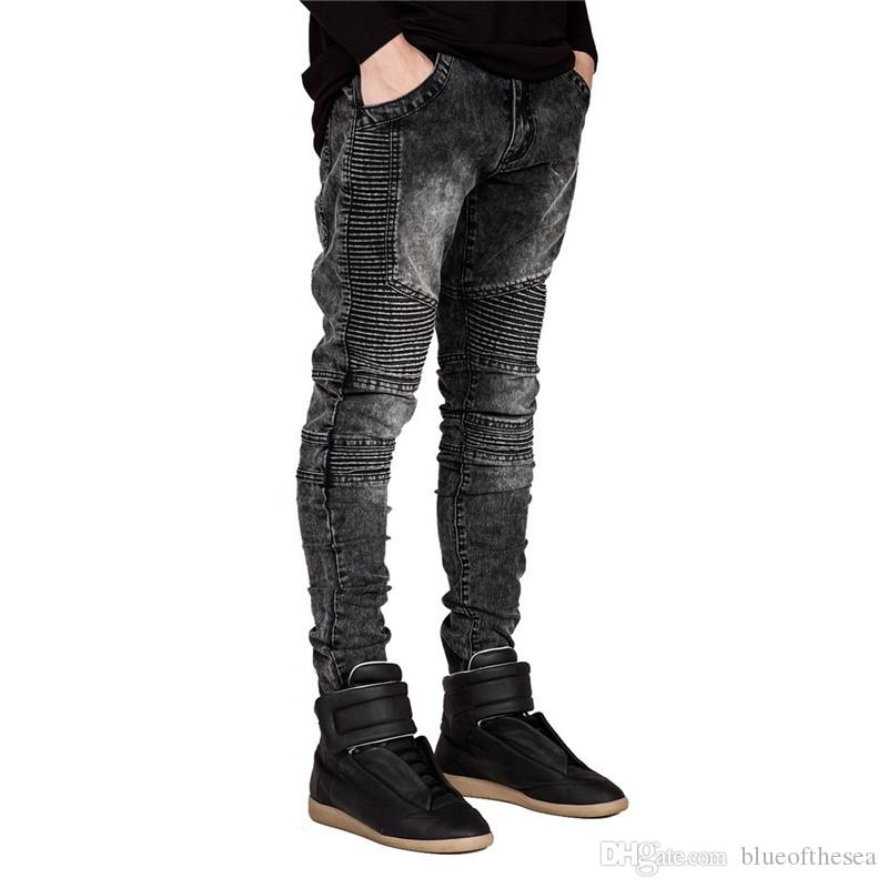 f787e15eed1 Men Biker Jeans Ripped Denim Slim Fit Jean Pants Crease Designer Hip Hop  Skinny Jeans With Mens Trousers Dropshipping Online with  29.95 Piece on ...