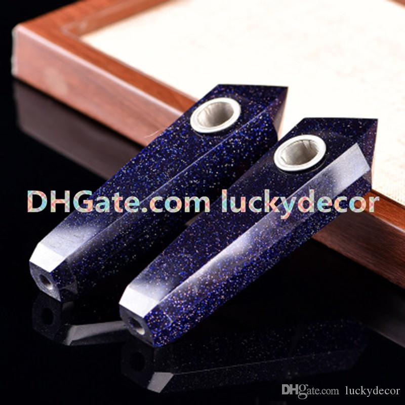 Blue Sandstone Crystal Bowl Pipe Custom Engraving Methaphysics Metaphysical Quartz Wand Blue Sandstone Gem Cigarette Holder Smoking Pipe